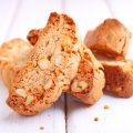 Biscotti with nuts on a white background. selective focus